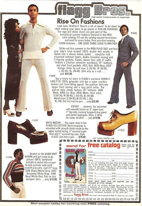 An ad for Flagg Bros., a men's fashion company based in California, 1976