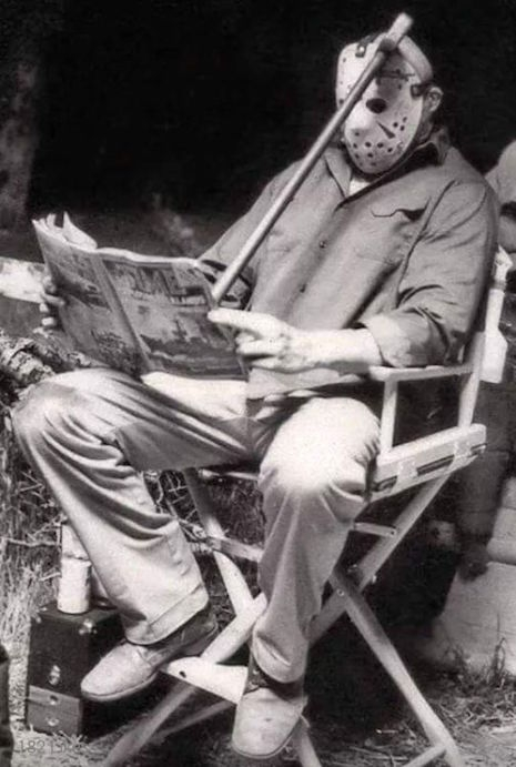 Actor Richard Brooker taking a break on the set of Friday the 13th Part III, 1982