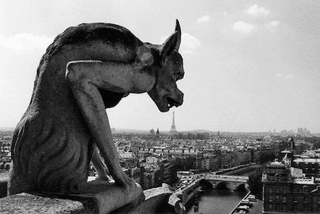 One of Robert Doisneau many photographs of the gargoyle statues of Notre-Dame