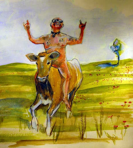 GG Allin riding a cow pastoral watercolor painting