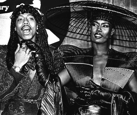 Grace Jones and Rick James arrive at the Grammy Awards, 1980
