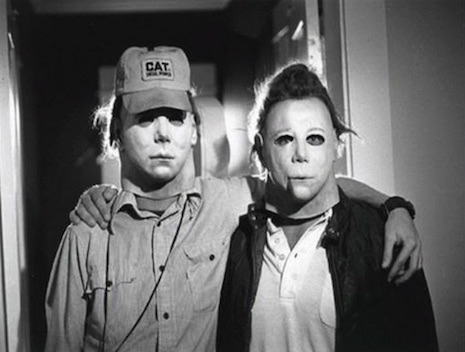 Two versions of slasher Michale Myers hanging out behind the scenes of the 1978 film by John Carpenter, Halloween