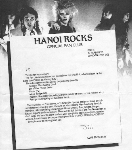 Hanoi Rocks fan club letter