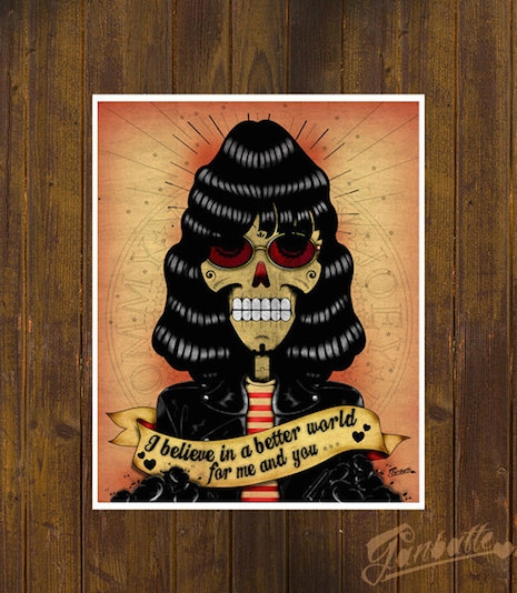 Joey Ramone sugar skull by Ganbatte