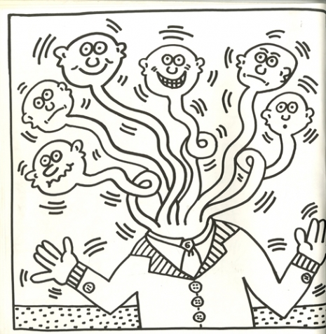 Keith Haring Arts Printable Coloring Pages (With images) | Keith ... | 477x465