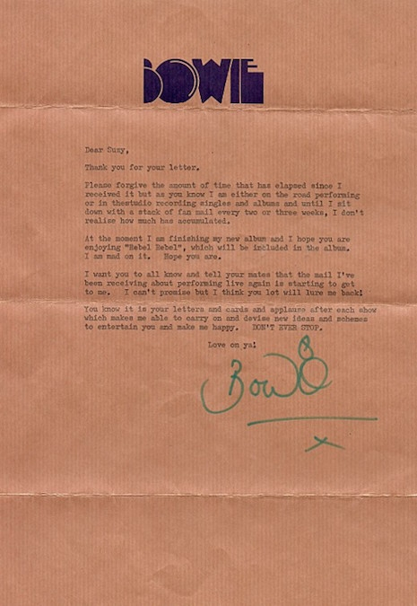 David Bowie's letter to