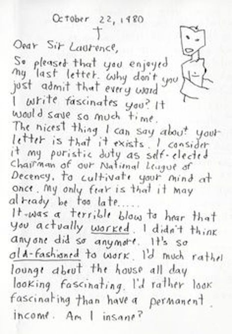 A page of a letter from Morrissey to his pen pal, Robert Mackie