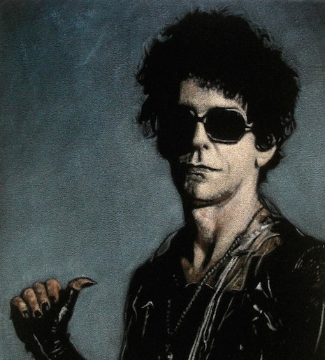 Lou Reed black velvet painting by Diane Bombshelter