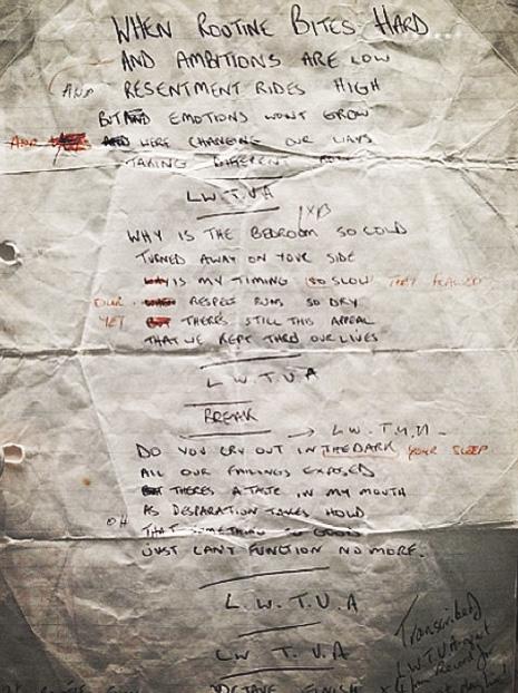 Ian Curtis' original handwritten lyrics for 'Love Will Tear Us Apart'