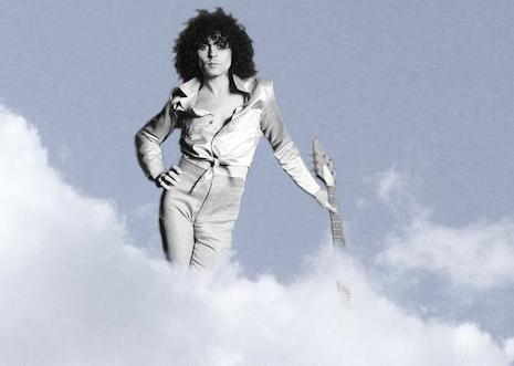 Marc Bolan riding on top of a cloud