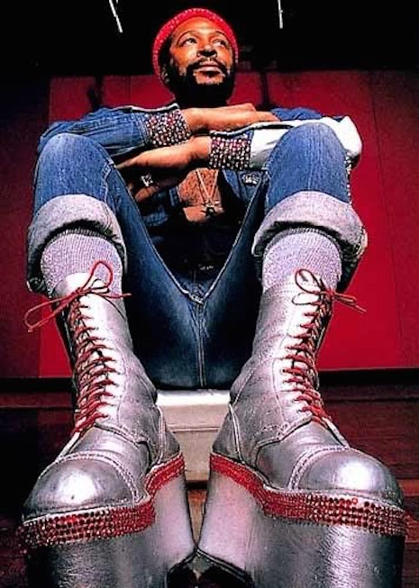 Marvin Gaye's signature silver platform boots, 1970s