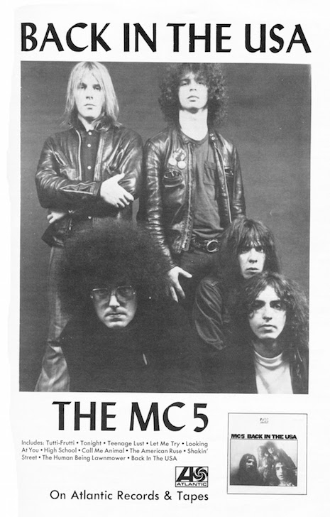 An ad for the MC5's second record, 1970s, Back in the USA