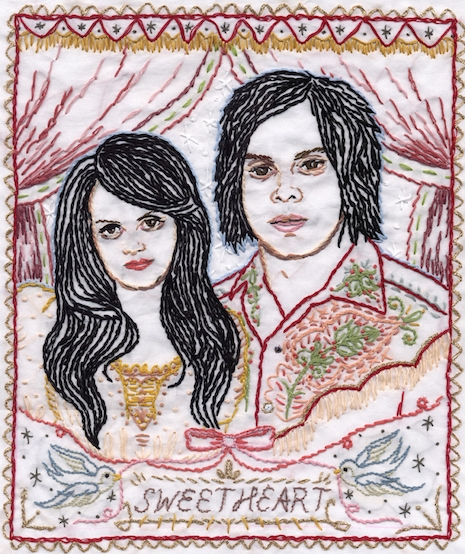 Meg and Jack White of the White Stripes embroidery