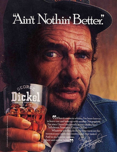 Print ad featuring Merle Haggard (RIP) for George Dickel Whisky