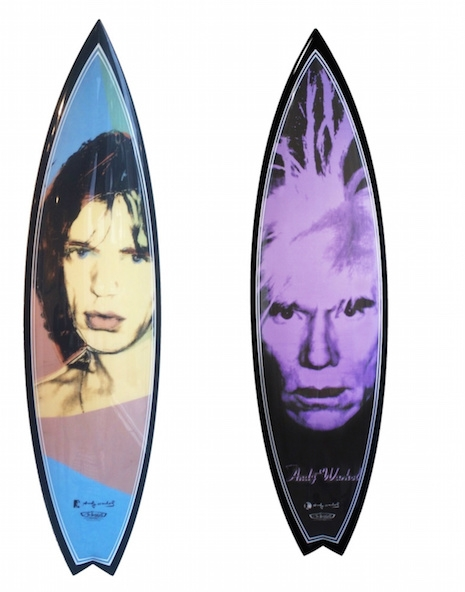 Mick Jagger and Andy Warhol portrait surfboards