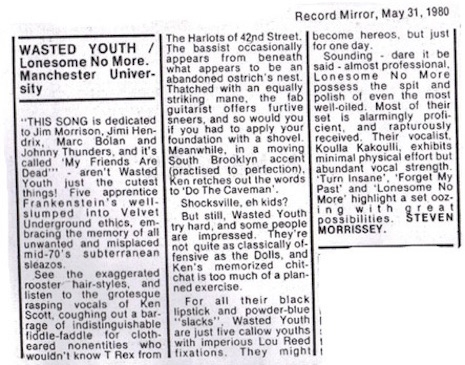 Morrissey's review of a live show by Wasted Youth that appeared in the Record Mirror on May 31st, 1980