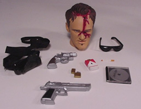 Mr. Brown's accessories including his head with a bullet hole in it