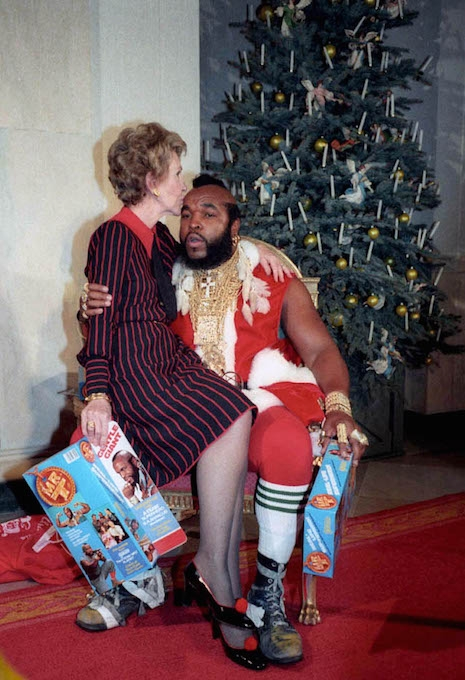 Nancy Reagan and Mr. T at the White House during Christmas time, 1983