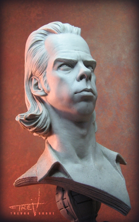 Nick Cave bust sculpture side view