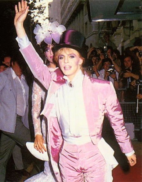Nick Rhodes in his pink tuxedo at his wedding to Julie Anne Friedman, August 18th, 1984