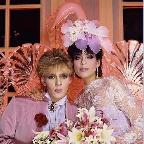 Nick Rhodes of Duran Duran and his then wife, Julie Anne Friedman on their wedding day, 1984