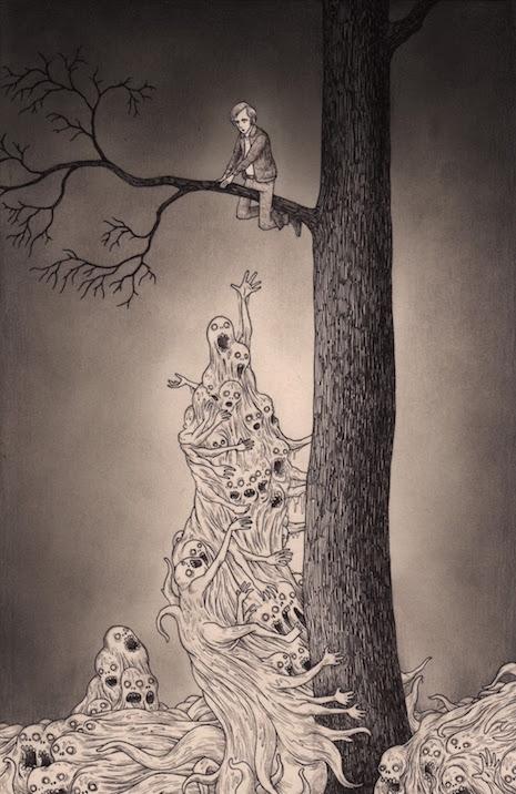 Tiny nightmarish illustrations drawn on sticky notes