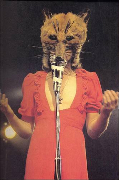Peter Gabriel as the Fox during the tour for the 1972 album, Foxtrot in his wife's dress and a custom made fox head