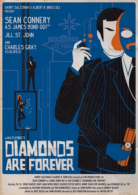 James Bond movie posters in the style of Saul Bass