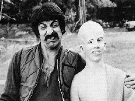 Tom Savini goofing off on the set of Friday the 13th, 1980