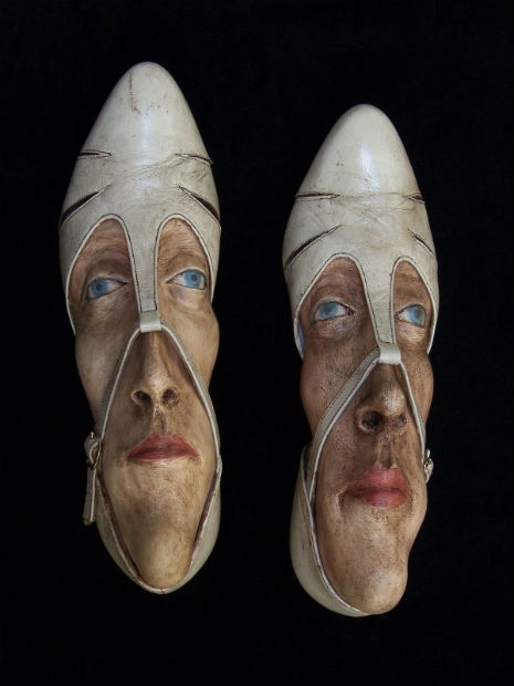 Foot Fetish  Freaky Faces In Old  Discarded Shoes