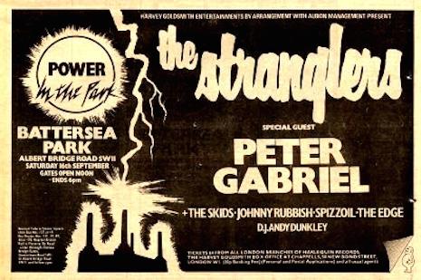 Showbill for The Stranglers at Battlesea Park, August 16, 1978