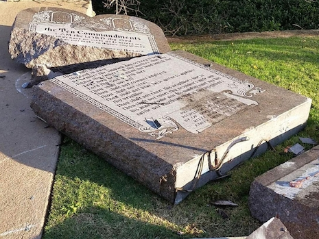 Smashed up Ten Commandments statue in Oklahoma