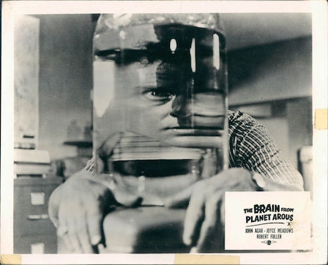 Lobby card for The Brain from Planet Arous, 1957