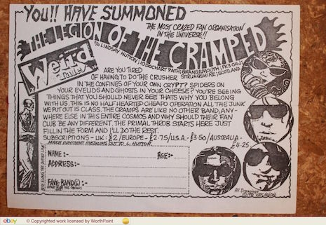 The Cramps fan club mailer