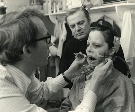 Actress Linda Blair getting her makeup done on the set of the 1973 film, The Exorcist