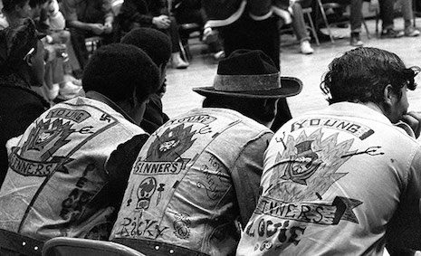 Members of the Young Sinners gang at the Hoe Avenue Peace Meeting, 1971