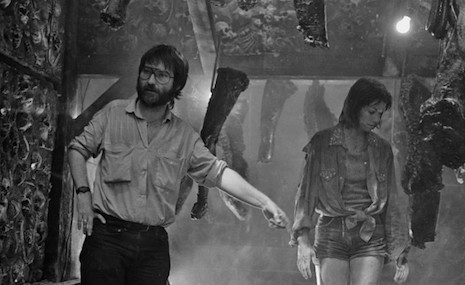 Tobe Hooper and actress Caroline Williams on the set for the 1986 film, The Texas Chainsaw Massacre 2