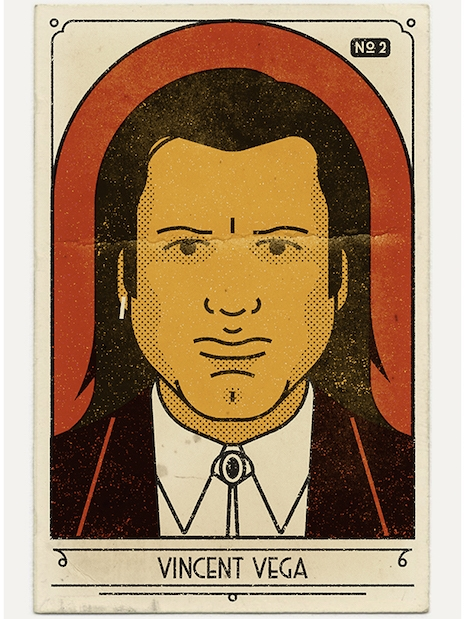 Vintage look portrait of Vincent Vega from Pulp Fiction