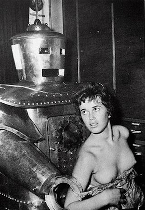Robot and topless woman, 1950s