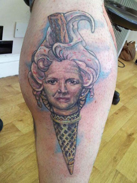 Former Prime Ministers of the UK, Margaret Thatcher as an ice cream cone tattoo
