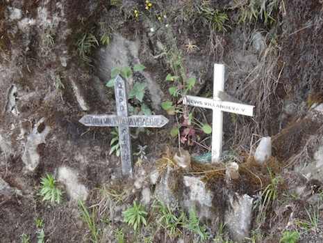 Roadside markers on the Death Road in Bolivia