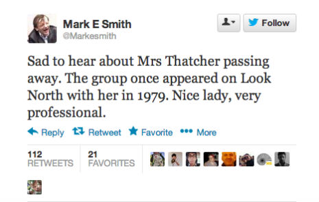 What does 'Mark E. Smith' think about Margaret Thatcher dying, anyway?