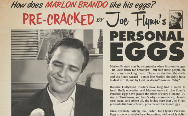 Marlon Brando egg advert mystery solved: The strange story of Joe Flynn and his scrambled dream