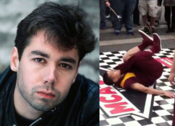 Four monks breakdancing to honor Beastie Boy Adam Yauch