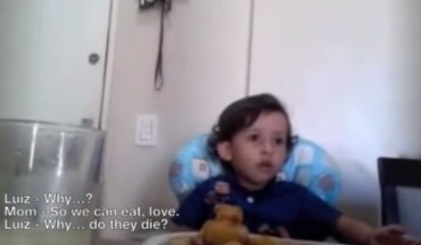 Little boy discovers meat is murder; makes his mom cry