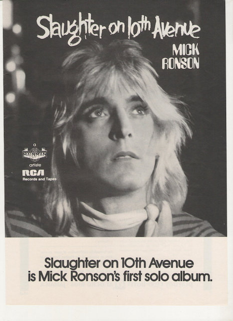 Mick Ronson Slaughter on 10th Avenue ad, 1974