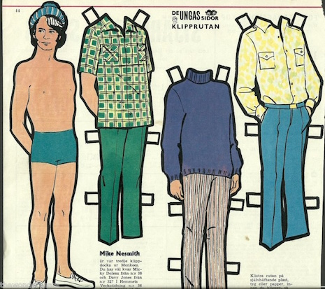 Michael Nesmith of The Monkees vintage Swedish paper doll