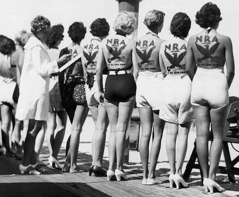 Miss NRA contestants being judged in Miami, 1930