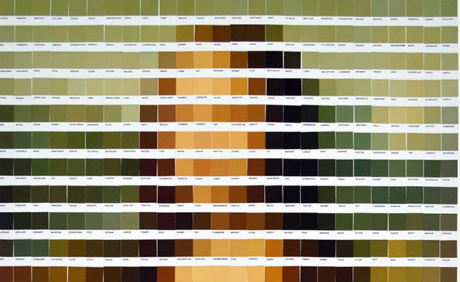 Artistic masterpieces rendered in Pantone swatches