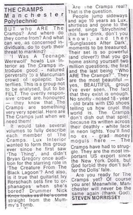 A review of a live Cramps gig at Manchester Polytechnic that appeared in Record Mirror on April 4th, 1980
